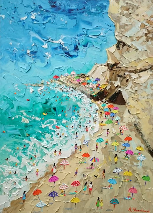 Magnificent Tropea; Palette knife oil painting - Painting,  27.6x19.7x0.1 in, ©2018 by Alena Shymchonak -                                                                                                                                                                                                                                                                                                                                                                                                                                                                                                                                                                                                                                                                                                                                  Abstract, abstract-570, Other, Water, Seasons, People, Seascape, Beach, buy beach painting, sale beah art, beach scene painting, beach original painting, beach knife painting, beach texure painting, beach palette knife