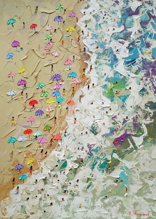 Sea rhapsody; Original palette knife oil painting - Painting,  70x50x0.2 cm ©2018 by Alena Shymchonak -                                                                                                                                                            Conceptual Art, Contemporary painting, Expressionism, Impressionism, Realism, Other, Beach, Landscape, Nature, People, Seascape, beach oil painting, buy beach painting, beach texure painting, sale beach art, beach and people art, ocean beach painting