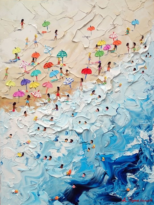 My lovely summer; Palette knife oil painting - Painting,  40x30x0.2 cm ©2018 by Alena Shymchonak -                                                                                                                                    Conceptual Art, Contemporary painting, Impressionism, Realism, Other, Beach, Landscape, Nature, Seascape, beach scene painting, buy beach painting, beach palette knife, beach oil art, sale beach painting