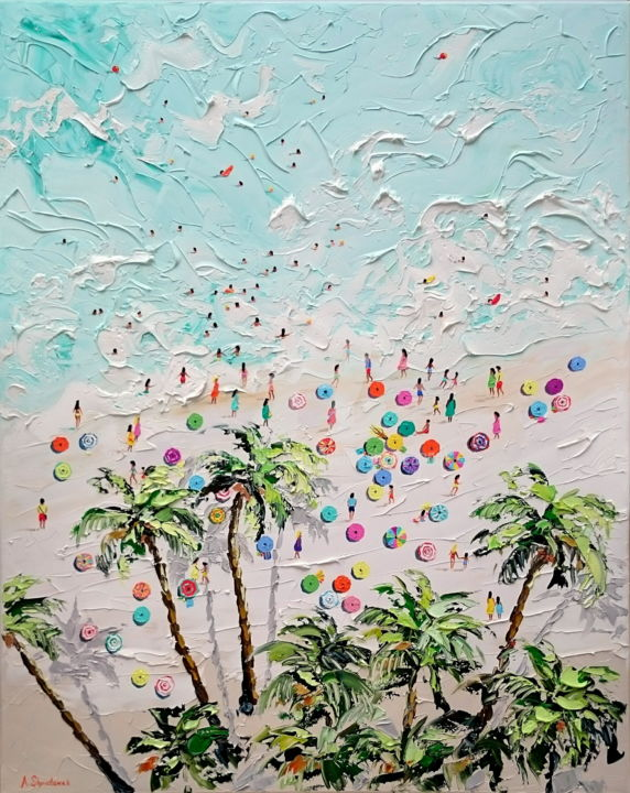 My paradise; Original palette knife oil painting - Painting,  100x80x4 cm ©2018 by Alena Shymchonak -                                                                                                                                                            Conceptual Art, Contemporary painting, Impressionism, Modernism, Realism, Canvas, Beach, Landscape, Nature, People, Seascape, buy beach painting, buy beach scene painting, beach oil art, ocean beach painting, beach palette knife, beach texure painting
