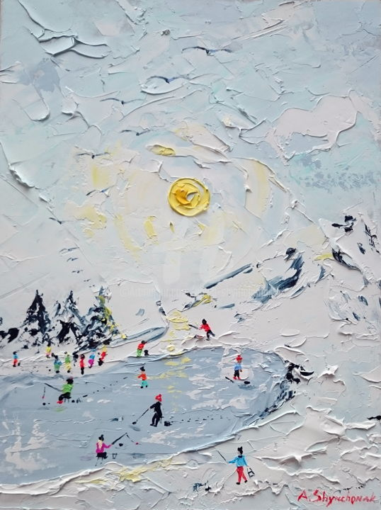 Winter fishing; Palette knife oil painting - Painting,  40x30x0.2 cm ©2018 by Alena Shymchonak -                                                                                                                        Figurative Art, Impressionism, Conceptual Art, Realism, Other, Seasons, Seascape, Landscape, winter landscape painting, buy landscape painting, winter oil painting, palette knife landscape, fishing painting