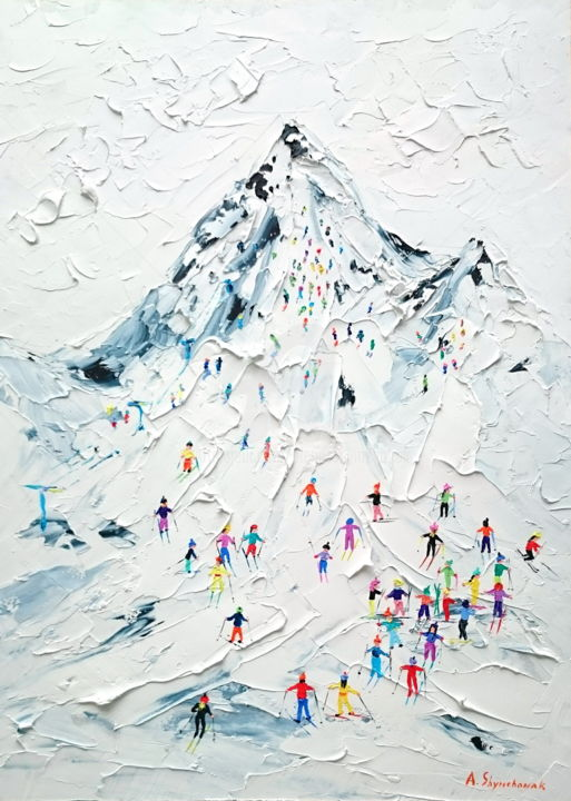 Holiday in Breuil-Cervinia; Palette knife oil art - Painting,  70x50x0.2 cm ©2018 by Alena Shymchonak -                                                                                                                                                            Conceptual Art, Contemporary painting, Impressionism, Photorealism, Realism, Other, Black and White, Landscape, Mountainscape, People, Places, mountains painting, mountains landscape painting, mountains and skiers, skiers palette knife painting