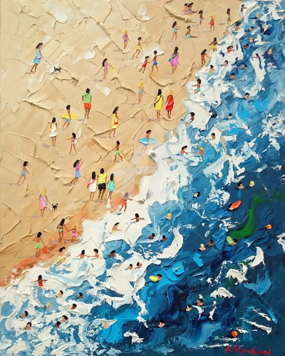 I love the sea; Original palette knife oil art - Painting,  19.7x15.8x0.1 in, ©2018 by Alena Shymchonak -                                                                                                                                                                                                                                                                                                                                                                                                                                                                                                                                                                                              Conceptual Art, conceptual-art-579, Other, Beach, Landscape, People, Seascape, buy beach painting, beach original painting, beach palette knife, sale beach painting, beach scene painting