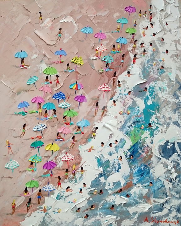 We are on the beach! Ppalette knife oil painting - Painting,  19.7x15.8x0.1 in, ©2019 by Alena Shymchonak -                                                                                                                                                                                                                                                                                                                                                                                                                                                                                                                                                                                              Conceptual Art, conceptual-art-579, Other, Beach, Landscape, People, Seascape, beach scene painting, beach oil painting, buy beach painting, original beach painting, beach palette knife