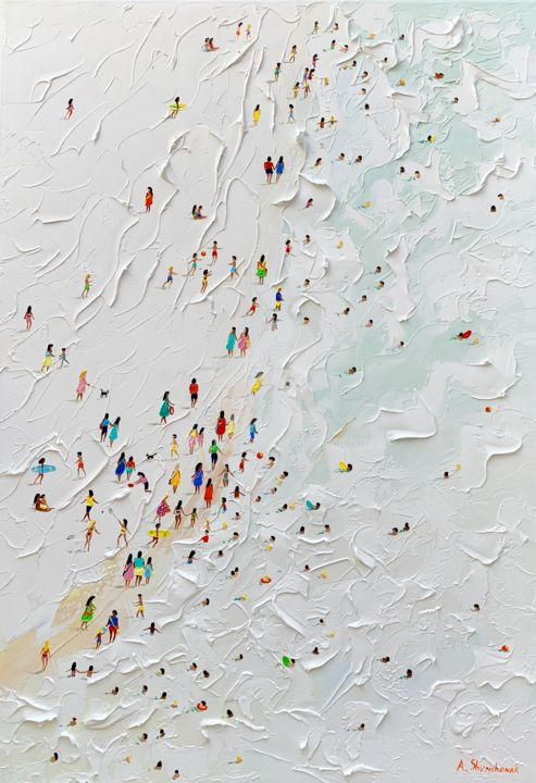Wonderful White beach; Palette knife oil painting - Painting,  100x70x4 cm ©2019 by Alena Shymchonak -                                                                                                                                                            Conceptual Art, Contemporary painting, Expressionism, Impressionism, Realism, Canvas, Beach, Family, Nature, People, Seascape, buy beach painting, beach original painting, beac scene painting, beach palette knife art, sale beach painting, ocean beach painting, beach and people