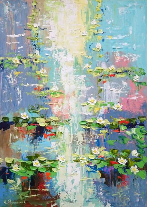 Lovely water lilies; Palette knife painting - Painting,  70x50x0.2 cm ©2019 by Alena Shymchonak -                                                                                                                        Conceptual Art, Contemporary painting, Expressionism, Impressionism, Other, Botanic, Flower, Landscape, water lilies painting, water lily palette knife, waterlilies art, waterlilies bloom