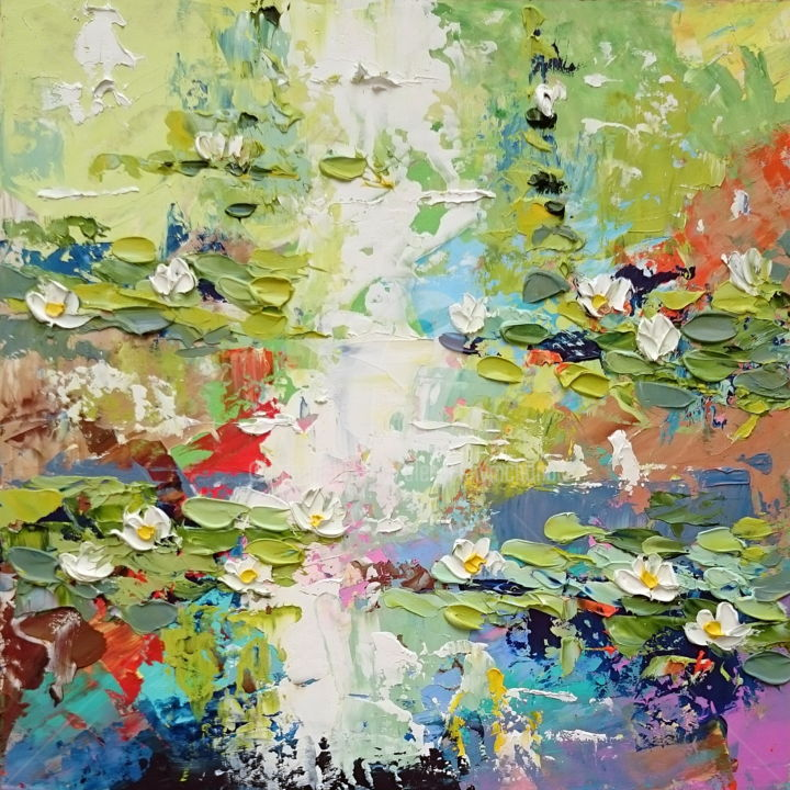 Water lilies pond; Original palette knife oil art - Painting,  10.6x10.6x0.1 in, ©2019 by Alena Shymchonak -                                                                                                                                                                                                                                                                                                                                                                                                                                                                                                      Abstract, abstract-570, Other, Botanic, Flower, Seascape, water lily painting, water lilies pond, monet water lily, water lily impressionism