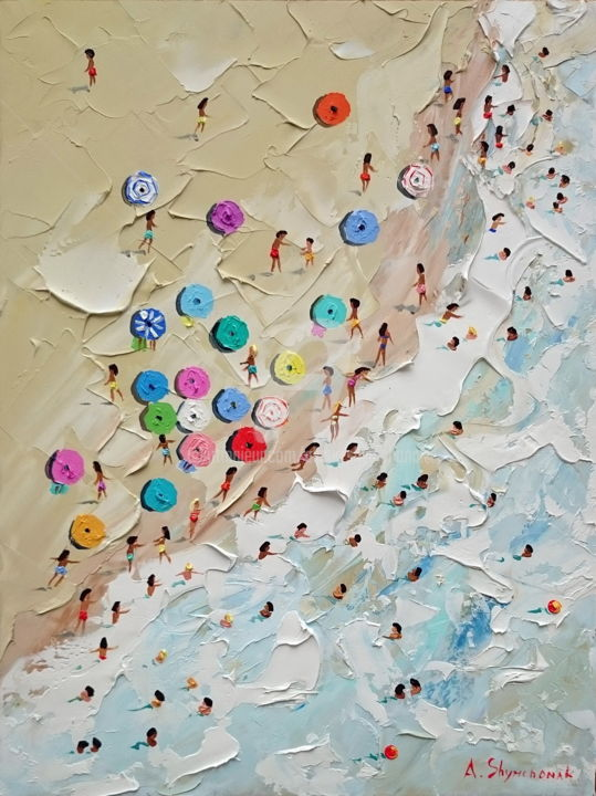 Relaxing on the beach; Original knife art - Painting,  40x30x0.2 cm ©2019 by Alena Shymchonak -                                                                                                                                    Conceptual Art, Contemporary painting, Impressionism, Realism, Other, Beach, Landscape, People, Seascape, buy beach painting, original beach painting, beach palette knife, buy beach scene art, ocean beah painting