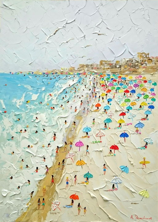 Summer, beach, umbrellas.. Original oil art - Painting,  70x50x0.2 cm ©2019 by Alena Shymchonak -                                                                                                                                    Abstract Art, Abstract Expressionism, Impressionism, Realism, Other, Seasons, People, Seascape, Beach, buy beach painting, beach palette knife, beach texure art, beach scene painting, buy beach art, original beach scene painting