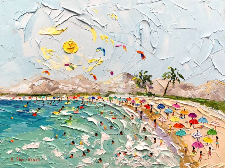 The voice of summer; Original knife oil art;framed - Painting,  40x30x0.2 cm ©2019 by Alena Shymchonak -                                                                                                                                                Conceptual Art, Contemporary painting, Expressionism, Impressionism, Realism, Other, Beach, Landscape, People, Seascape, buy beach painting, beach palette knife, original beach painting, sale beach art