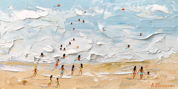Flying on the wave; Original oil painting - Painting,  20x40x0.2 cm ©2019 by Alena Shymchonak -                                                                                                                                    Conceptual Art, Contemporary painting, Impressionism, Realism, Other, Beach, Landscape, People, Seascape, buy beach painting, beach original painting, beach palette knife, ocean beach painting