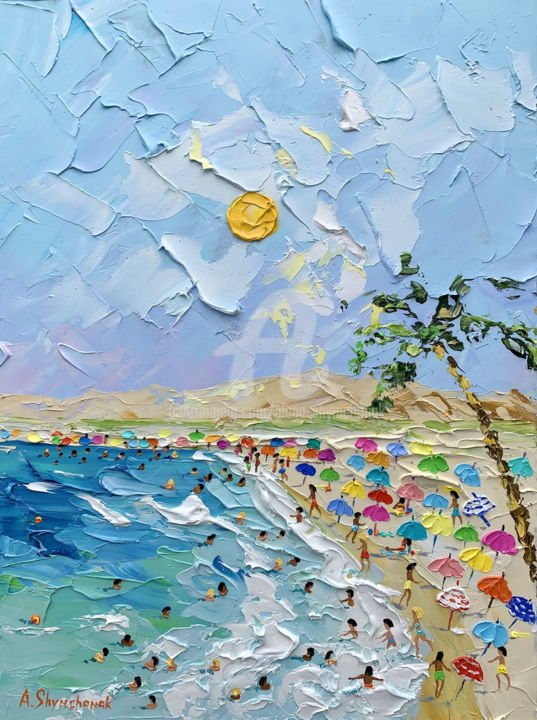 Reserved; The ocean voice; palette knife art - Painting,  40x30x0.2 cm ©2019 by Alena Shymchonak -                                                                                                                                                Conceptual Art, Contemporary painting, Expressionism, Impressionism, Realism, Other, Beach, Landscape, People, Seascape, buy beach painting, beach palette knife painting, beach scene painting, beach original art