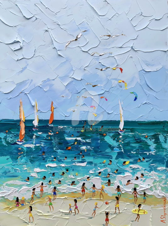 Azure waves; Original palette knife beach painting - Painting,  40x30x0.2 cm ©2019 by Alena Shymchonak -                                                                                                                                    Concrete Art, Contemporary painting, Impressionism, Realism, Other, Beach, Landscape, Nature, Seascape, buy beach painting, beach scene art, beach palette knife