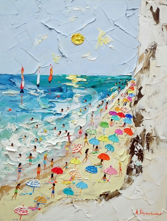 The island of summer; Framed - Painting,  40x30x0.2 cm ©2019 by Alena Shymchonak -                                                                                                            Conceptual Art, Expressionism, Impressionism, Other, Beach, Landscape, People, beach scene painting, beach palette knife