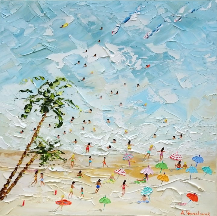 Summer holidays; Palette knife oil painting - Painting,  15.8x15.8x1.5 in, ©2019 by Alena Shymchonak -                                                                                                                                                                                                                                                                                                                                                                                                                                                      Abstract, abstract-570, Beach, Landscape, Nature, beach scene painting, original beach painting, buy beach painting, beach palette knife
