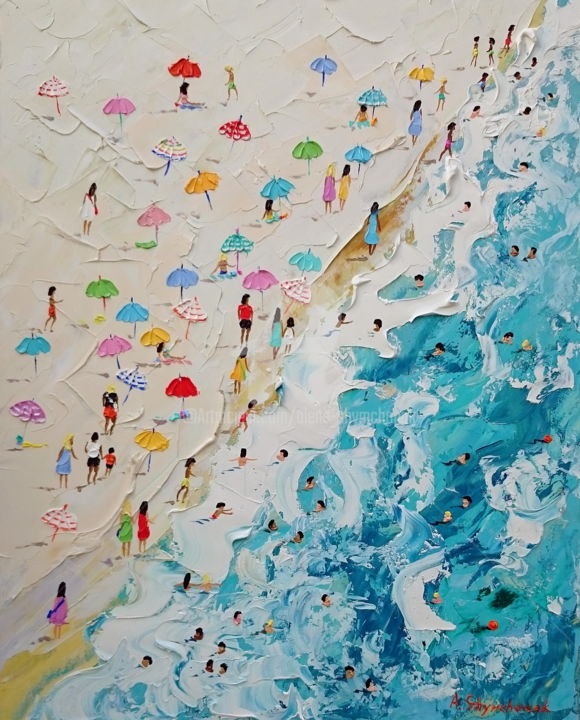 Lovely summer; Original palette knife oil painting - Painting,  50x40x0.2 cm ©2019 by Alena Shymchonak -                                                                                                                        Conceptual Art, Contemporary painting, Expressionism, Other, Beach, Landscape, People, Seascape, buy beach painting, original beach painting, beach oil painting, beach palette knife painting