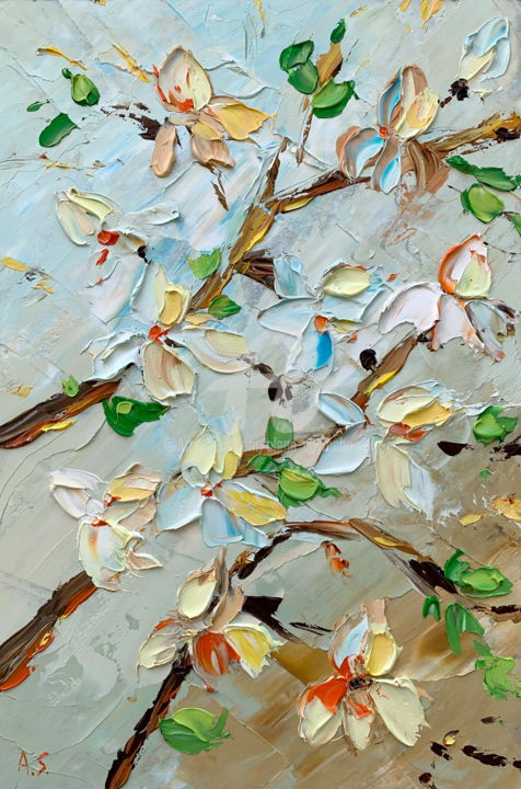 Commission for Leatitia; Magnolias - Painting,  30x20x0.2 cm ©2019 by Alena Shymchonak -                                                                                                Expressionism, Impressionism, Realism, Other, Botanic, Flower, magnolia painting, palette knife oil painting, original painting