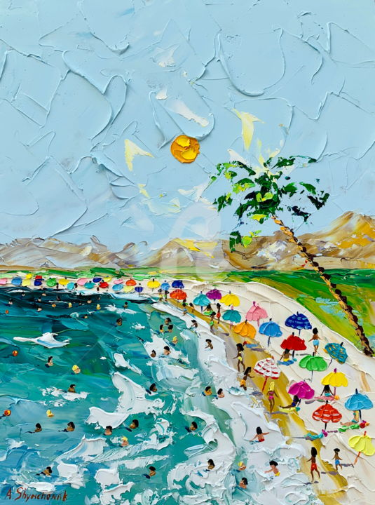 My holidays - Painting,  40x30x0.2 cm ©2019 by Alena Shymchonak -                                                                                                                        Contemporary painting, Impressionism, Realism, Other, Beach, Landscape, People, Seascape, beach scene painting, beach palette knife, beach original art, buy beach painting, beach oil painting