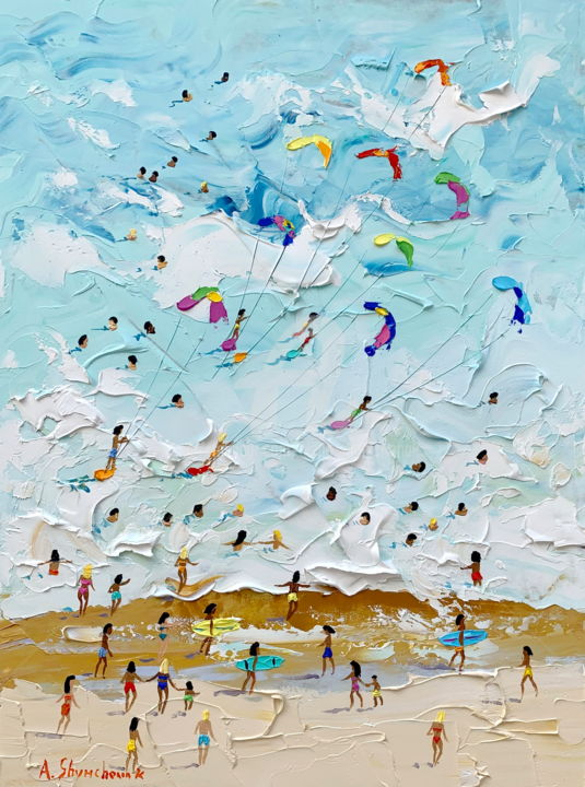 Blue sea; Original palette knife oil painting - Painting,  40x30x0.2 cm ©2019 by Alena Shymchonak -                                                                                                                                                Conceptual Art, Contemporary painting, Expressionism, Impressionism, Realism, Other, Beach, Landscape, People, Seascape, buy beach painting, beach original art, beach scene painting, beach palette knife painting