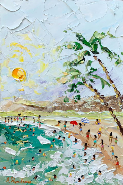 Summer coming; Original oil painting - Painting,  30x20x0.2 cm ©2019 by Alena Shymchonak -                                                                                                                                                Conceptual Art, Contemporary painting, Expressionism, Impressionism, Realism, Other, Beach, Landscape, People, Seascape, buy beach painting, beach palette knife, beach scene art