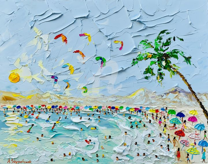 Paradise beach; Original palette knife oil art - Painting,  40x50x0.2 cm ©2019 by Alena Shymchonak -                                                                                                                                                Conceptual Art, Contemporary painting, Expressionism, Impressionism, Realism, Other, Beach, Landscape, Nature, People, buy beach painting, beach palette knife, beach scene painting, beach original painting, beach and people painting, ocean beach painting