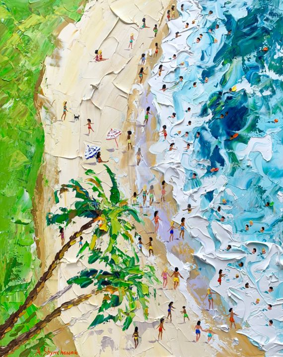 Summer time; Original palette knife oil painting - Painting,  50x40x0.2 cm ©2019 by Alena Shymchonak -                                                                                                                                                            Conceptual Art, Contemporary painting, Expressionism, Impressionism, Realism, Other, Beach, Landscape, Nature, People, Seascape, buy beach painting, beach scene painting, beach palette knife art, beach original painting, beach art, sale beach painting, ocean beach painting, beach texure art
