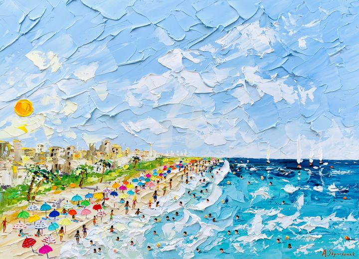 Summer.. Miami...;Original painting; framed - Painting,  50x70x0.2 cm ©2019 by Alena Shymchonak -                                                                                                                                                Conceptual Art, Contemporary painting, Impressionism, Realism, Other, Beach, Cityscape, Landscape, People, Seascape, buy beach painting, miami, miami beach, miami beach painting, sale beach scene art, beach palette knife painting