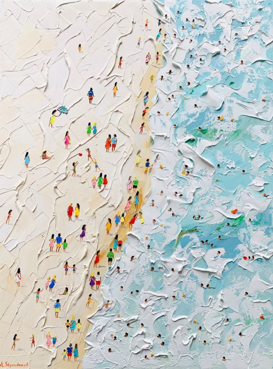 RESERVED; I'm hear the summer; knife oil art - Painting,  80x60x3.8 cm ©2019 by Alena Shymchonak -                                                                                                                                    Abstract Expressionism, Art Deco, Impressionism, Conceptual Art, Other, Seascape, Landscape, Beach, Travel, beach scene painting, beach palette knife, beach original painting, beach oil art, ocean beach painting, buy beach painting