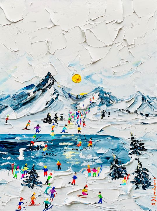 Going skiing! Original palette knife oil painting - Painting,  40x30x0.2 cm ©2019 by Alena Shymchonak -                                                                                                                                                Abstract Expressionism, Conceptual Art, Contemporary painting, Impressionism, Other, Family, Landscape, Mountainscape, Places, Seasons, mountains oil painting, winter landscape painting, landscape palette knife art