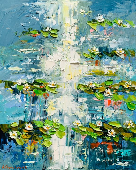 Water lilies pond; Original palette knife oil art - Painting,  50x40x0.2 cm ©2019 by Alena Shymchonak -                                                                                                                                    Conceptual Art, Contemporary painting, Expressionism, Impressionism, Other, Botanic, Flower, Landscape, Nature, waterlilies oil painting, water lily painting, original lilies painting, water lilies monet