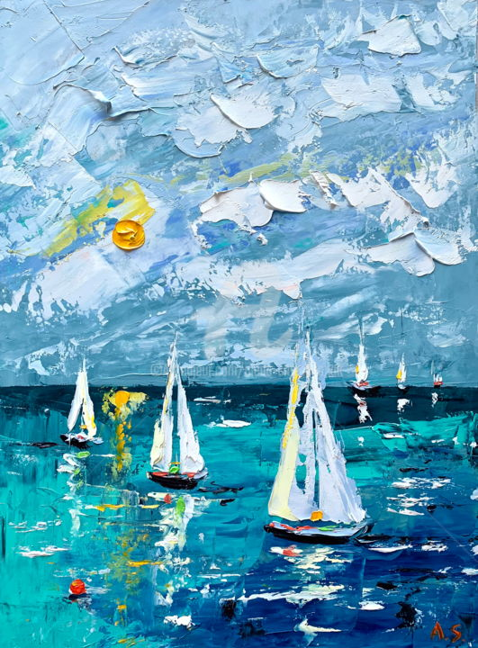 Azure flying; Original seascape painting - Painting,  40x30x0.2 cm ©2019 by Alena Shymchonak -                                                                                                                        Conceptual Art, Contemporary painting, Impressionism, Realism, Other, Landscape, Seascape, Ships, sailing ships painting, sailboats painting, ships original painting, seascape palette knife