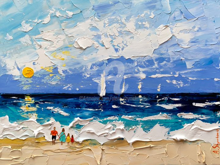 Holidays with family; Original oil painting - Painting,  30x40x0.2 cm ©2019 by Alena Shymchonak -                                                                                                                        Figurative Art, Impressionism, Realism, Expressionism, Other, Seascape, Landscape, Beach, beach scene painting, beach original painting, buy beach painting