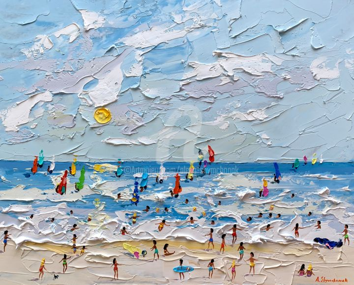 Windsurfing; Original palette knife oil painting - Painting,  40x50x0.2 cm ©2019 by Alena Shymchonak -                                                                                                                                    Conceptual Art, Contemporary painting, Impressionism, Realism, Other, Beach, Landscape, People, Seascape, beach scene painting, beach original painting, buy beach painting