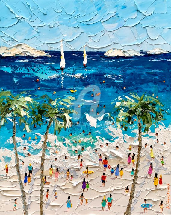 Going on holidays! Original painting - Painting,  50x40x0.2 cm ©2019 by Alena Shymchonak -                                                                                                                                    Conceptual Art, Contemporary painting, Expressionism, Impressionism, Other, Beach, Landscape, People, Seascape, buy beach painting, beach scene painting, beach palette knife painting