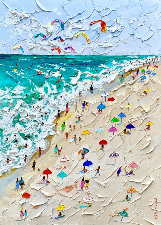 My summer holidays; Original palette knife oil art - Painting,  70x50x0.2 cm ©2019 by Alena Shymchonak -                                                                                                                                    Abstract Expressionism, Conceptual Art, Contemporary painting, Impressionism, Other, Beach, Landscape, People, Seascape, buy beach painting, beach original art, beach oil painting, beach palette knife, beach scene painting, ocean beach painting