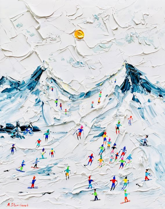One winter day; Original palette knife oil art - Painting,  50x40x0.2 cm ©2019 by Alena Shymchonak -                                                                                                                    Abstract Expressionism, Figurative Art, Impressionism, Realism, Mountainscape, People, Landscape, Nature, mountains painting, winter landscape painting, winter original painting, skiers oil painting