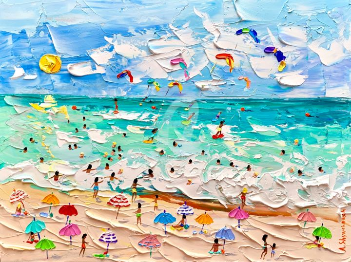 Fantastic summer - Painting,  40x30x0.2 cm ©2019 by Alena Shymchonak -                                                                                                                    Abstract Expressionism, Impressionism, Realism, Expressionism, Water, People, Landscape, Beach, beach painting, buy beach art, beach scene painting, beach palette knife, original beach art