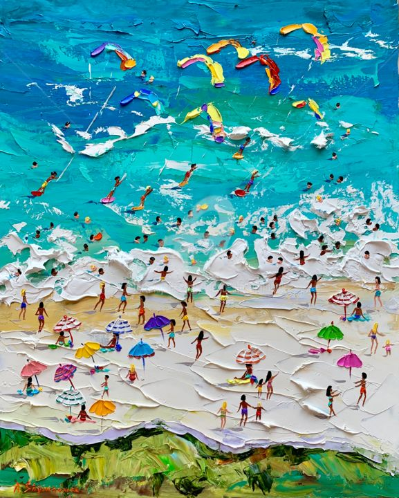 I love you, summer! beach scene painting - Painting,  50x40x0.2 cm ©2019 by Alena Shymchonak -                                                                                                                                Abstract Expressionism, Impressionism, Conceptual Art, Realism, Water, People, Places, Seascape, Beach, buy beach painting, beach palette knife art, beach original painting, beach scene painting