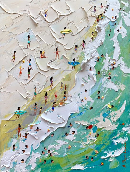 We are on the beach! Original painting - Painting,  40x30x0.2 cm ©2019 by Alena Shymchonak -                                                                                                                    Abstract Expressionism, Impressionism, Conceptual Art, Realism, Water, People, Seascape, Beach, biu beach painting, beach scene, beach original painting, buybeach art
