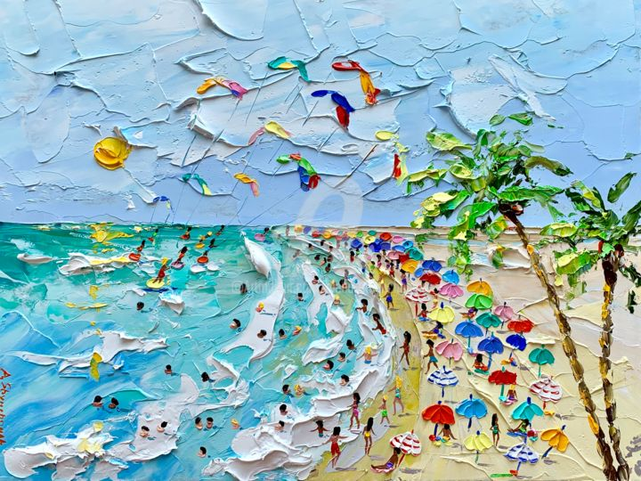 Sunny beach ; Original beach painting; framed - Painting,  30x40x0.2 cm ©2019 by Alena Shymchonak -                                                                                                                    Conceptual Art, Contemporary painting, Impressionism, Realism, Beach, Landscape, People, Seascape, buy beach painting, beach original art, beach scene painting, beach palette nife