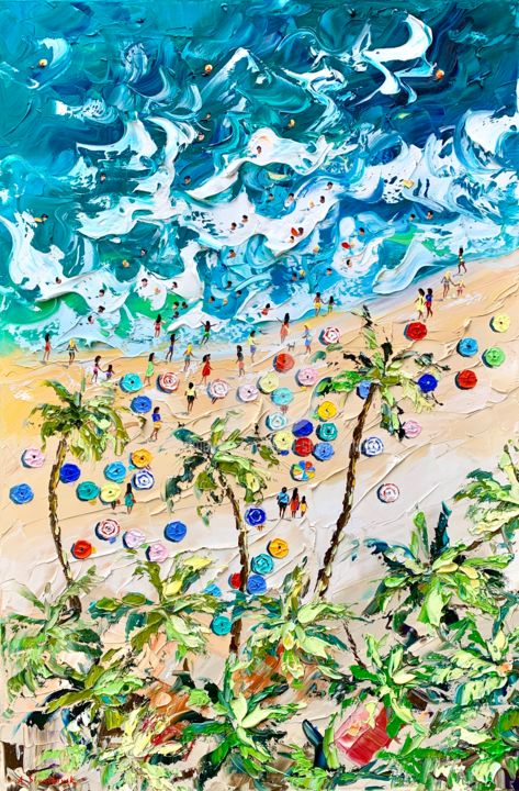Blue beach Nice; Original oil painting on canvas - Painting,  100x60x3.8 cm ©2019 by Alena Shymchonak -                                                                                                                    Abstract Expressionism, Figurative Art, Impressionism, Realism, People, Seascape, Landscape, Beach, buy beach painting, original beach art, beach scene painting, beach palette knife art