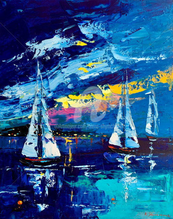 Evening promenade in Cannes; Original oil painting - Painting,  50x40x0.2 cm ©2019 by Alena Shymchonak -                                                                                                                    Figurative Art, Impressionism, Realism, Contemporary painting, Ships, Seascape, Landscape, Beach, seascape painting, sea painting, sailboats painting, sailing original painting