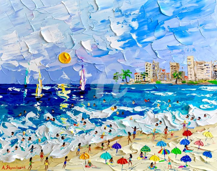 Summer always with me!; Original painting - Painting,  15.8x19.7x0.1 in ©2019 by Alena Shymchonak -                                                                                                                                Conceptual Art, Contemporary painting, Impressionism, Realism, Beach, Landscape, People, Places, Seascape, buy beach painting, beach scene art, beach palette knife painting, beach artwork