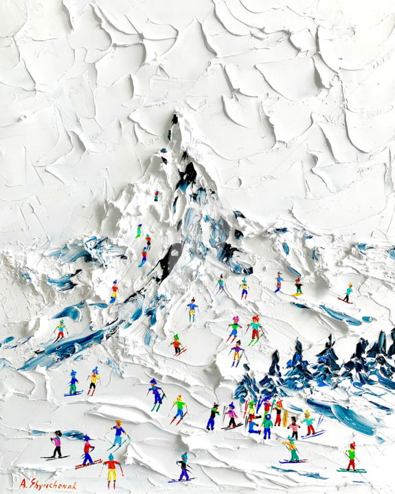 Matterhorn ski paradise;oil painting - Painting,  19.7x15.8x0.1 in ©2019 by Alena Shymchonak -                                                                                                                    Conceptual Art, Contemporary painting, Impressionism, Realism, Landscape, Mountainscape, People, Places, mountains painting, Matterhorn painting, skiers painting, skiing