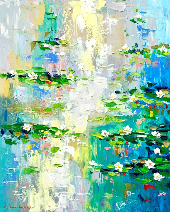 Lilies bloomed; Original palette knife painting - Painting,  19.7x15.8x0.1 in ©2019 by Alena Shymchonak -                                                                                                                    Conceptual Art, Expressionism, Impressionism, Realism, Botanic, Flower, Landscape, Still life, water lilies painting, lilies oil painting, monet painting, waaterlilies impressionism