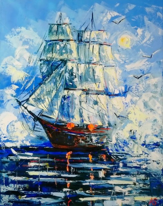 Alone sailing ship; Original oil painting; framed - Painting,  19.7x15.8x0.8 in, ©2018 by Alena Shymchonak -                                                                                                                                                                                                                                                                                                                                                                                                                                                      Impressionism, impressionism-603, Landscape, Places, Seascape, Ships, sailboats oil painting, ships painting, sailing ships painting