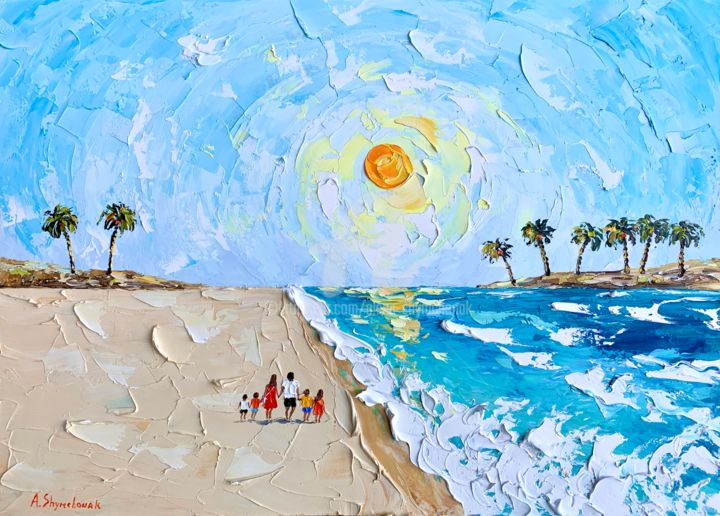 Summer holidays with my family; oil painting; framed - Painting,  19.7x27.6x0.8 in, ©2020 by Alena Shymchonak -                                                                                                                                                                                                                                                                                                                                                                                                                                                                                                  Impressionism, impressionism-603, Beach, Landscape, People, Seascape, beach painting, beach scene, paradice beach art, beach original painting