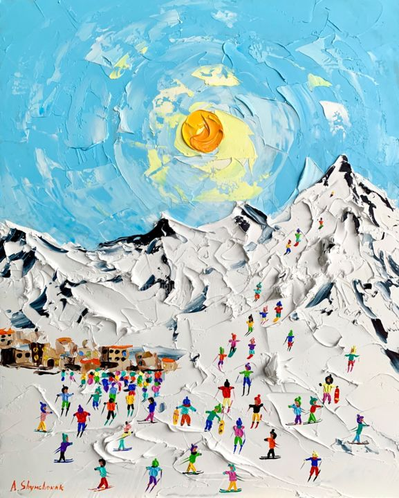 Holiday in Switzerland; original oil painting; framed - Painting,  19.7x15.8x0.8 in, ©2020 by Alena Shymchonak -                                                                                                                                                                                                                                                                                                                                                                                                                                                                                                                                              Impressionism, impressionism-603, Landscape, Mountainscape, People, Places, mountains painting, mountains landscape, winter mountains, switzerland painting, alps painting