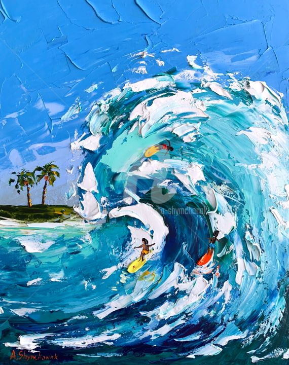 Crazy guys; original oil painting; framed - Painting,  19.7x15.8x0.8 in, ©2020 by Alena Shymchonak -                                                                                                                                                                                                                                                                                                                                                                                                          Impressionism, impressionism-603, People, Places, Seascape, surfers oil painting, surfing oil art, ocean waves painting