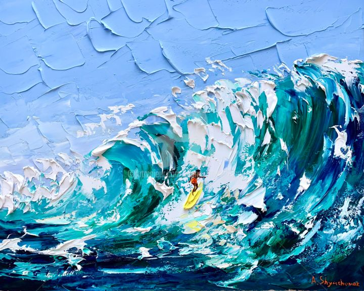 Day for surfing; original oil Art; framed - Painting,  15.8x19.7x0.8 in, ©2020 by Alena Shymchonak -                                                                                                                                                                                                                                                                                                                                                                                                          Impressionism, impressionism-603, People, Places, Seascape, surfer oil art, surfing original art, ocean oil painting